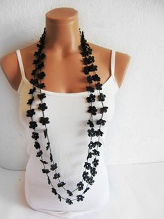 Hand crochet lace necklace infinity black by emofoFashionDesing, $25.00