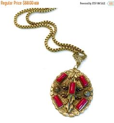 Victorian Pendant Necklace  Red Glass Cabochons by Vintageimagine