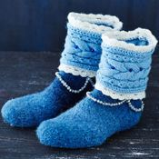 Beautiful crocheted and felted slippers, instructions in Finnish only. Sock Crafts, Diy And Crafts, Diy Crochet And Knitting, Halcyon Days, Art And Craft Design, Felted Slippers, Sock Shoes, Knitting Patterns, Knitting Ideas