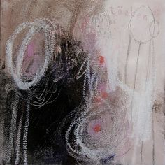 """Contemporary Modern Abstract Mixed Media Painting Art Colorful Small by Julie Robertson 5.75 x 5.75 x .65 """""""
