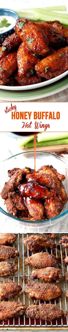 Perfect for Game Day or any day! Sticky Buffalo Honey Hot Wings - the BEST buffalo wings you will ever devour and as easy as tossing in a rub, baking and coating in an easy, tantalizing sauce.  #appetizer #wings #buffalowings