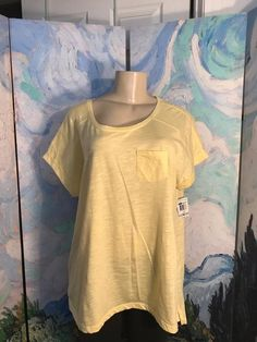 Style&Co Plus 1X New Yellow Semi-Sheer Round Neckline Short Sleeve Tee Shirt Top #Styleco #Tunic #Casual