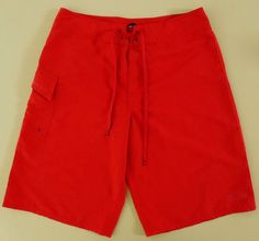 OAKLEY Red BOARD Shorts 30 MENS Solid DRAWSTRING Spring 2014 481924 CLASSIC Men* #Oakley #BoardShorts