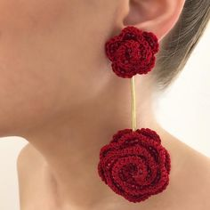 Quick Crochet Patterns, Crochet Jewelry Patterns, Crochet Earrings Pattern, Lace Patterns, Crochet Accessories, Crochet Designs, Crochet Necklace, Crochet Flower Tutorial, Crochet Flowers