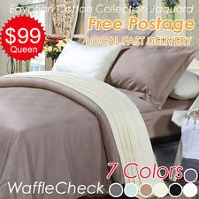 Egyptian Cotton Waffle Check Jacquard Quilt/Doona/Duvet Cover + Pillowcase Set