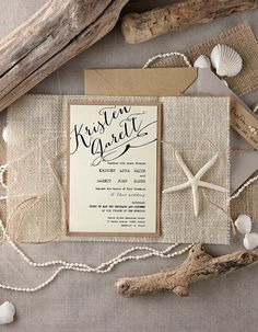 rustic beach themed wedding invitations from invitations, rustic beach wedding invites Beach Theme Wedding Invitations, Beach Wedding Reception, Handmade Wedding Invitations, Beach Wedding Favors, Rustic Invitations, Wedding Stationery, Wedding Menu, Wedding Wishes, Beach Themed Weddings