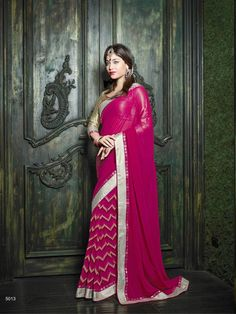 Pink Beige Georgette Trendy Casual Saree