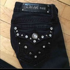 L.A. IDOL black jeans Beautiful black la idol jeans so pretty all stones intact 30 inch inseam L.A. idol Jeans Boot Cut