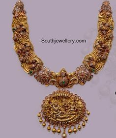 Peacock Nakshi Necklace with Temple Pendant photo