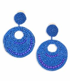 Blue Disc Beading Earrings
