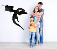 Large Black Dragon Wall Decal