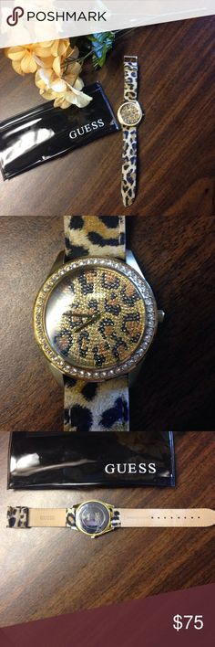 Like new Guess watch! Beautiful cheetah print/gold Guess watch. Only wore twice, got as a gift and just not a big fan of gold jewelry. Needs a battery but I don't think it should be too expensive. Strap is super soft! Excellent condition! Comes with a 10 year warranty and I have only owned it for 2. Selling for $75-$130 on other sites so this is a great deal! Guess Accessories Watches