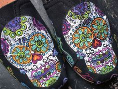 @Autumn Eaken Marshall ~ Sugar Skulls Day of the Dead hand painted on your TOMS DESIGN FEE only. $75.00, via Etsy.
