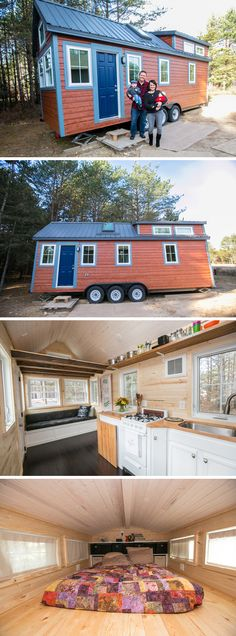 This 183 sq.ft. tiny house on wheels has a full kitchen, master bedroom loft, and main floor bunkbeds.