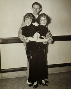 'Conjoined twins Violet and Daisy Hilton stand with Violet's fiance, Maurice Lambert, in 1934. They applied for marriage licenses in 21 states, but were denied on moral grounds. Violet and Daisy did eventually wed two other men  -Spouses:  Daisy -Harold Estep (1941-1941, 10 days); Violet -James Moore (1936-1946)