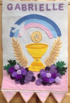 Communion banner- felt, glitter glue, pom balls, acrylic rhinestones