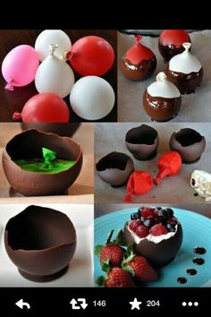 DIY chocolate desert bowl with cream, raspberry, strawberry an blueberry filling. Delicious!!!