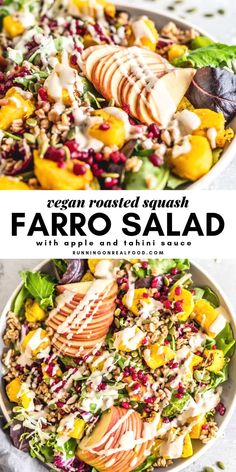 Roasted Squash and Farro Salad - Vegan, oil-free, sugar-free recipe. Perfect for Fall, Winter and Thanksgiving. Can be served as a main dish or beautiful side salad.