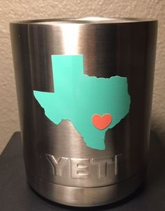 Custom TEXAS Decal with Heart for your Yeti Lowball Colster You pick colors
