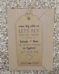 """""""Lets fly"""" Save The Date For Wedding Abroad Invitation with Envelope"""