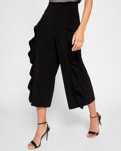 Ted Baker Frill detail culottes Black