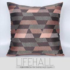 大隐HLH/现代北欧样板房/设计师软装抱枕交叉虾红间灰提花方枕