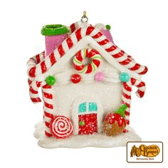 Freshen up the look of your tree with this adorable candy house that looks delicious enough to eat. Features red and pink candy canes, peppermint candies and glittery accents.    Answer fun questions and you could win in the Cracker Barrel Old Country Store Pick it to Win it Sweepstakes. Start 'picking' your answers at crackerbarrel.com/win (ends Jan 2, 2013).