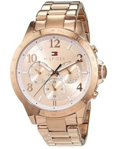 Reloj de mujer Tommy Hilfiger con correa de oro rosa. Descuento del 31%  #relojes #relojesmujer Tommy Hilfiger Mujer, Gold Watch, Chronograph, Women's Watches, Clocks, Quartz, Jewelery, Budget, Brand Name Watches