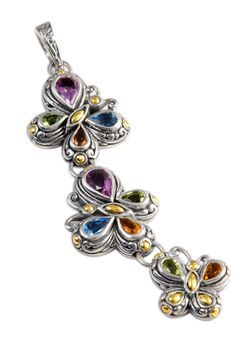 Multi Gemstone Pendant Set in Sterling Silver & 18K Gold Accents | Cirque Jewels