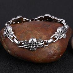Punk Skull Stainless Steel Charm Bracelet For Women