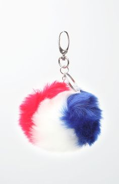 USA Faux Fur Pom-Pom Keychain