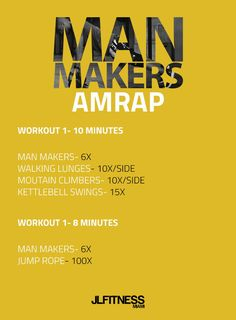 Man Makers AMRAP- You have two workouts to do, a 10 minute one and a 8 minute one. They're short but very intenese. If you need to know how to do man makers visit: