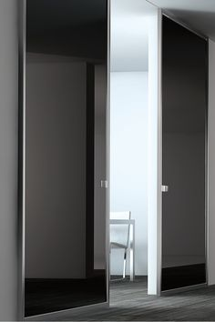 Black Lacquer Glass Panel Door & Stainless Steel by Modernus _