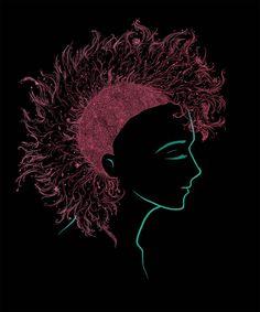 Wzór dziewczyny z kwiecistym irokezem. Zobacz koniecznie jak wygląda na naszej koszulce :) Girl with Mohawk,  see how it looks on a shirt :)