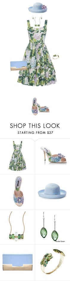 """""""Blooming Hydrangas"""" by miladyc ❤ liked on Polyvore featuring Dolce&Gabbana, Betmar, Jacquie Aiche, La Preciosa and Dorothy Perkins"""