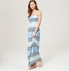 LOFT Beach Sunburst Stripe Strapless Maxi Dress | Loft