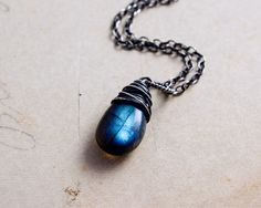 Labradorite Necklace Labradorite Pendant Blue by PoleStar on Etsy