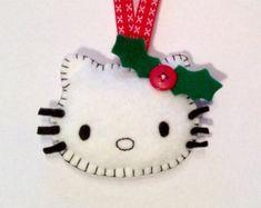 Felt Hello Kitty Christmas Tree Decoration Ornament/ Ready to ship/ Handmade/ Personalised/ Holly Sewn Christmas Ornaments, Felt Ornaments Patterns, Christmas Sewing, Felt Christmas, Handmade Christmas, Navidad Hello Kitty, Hello Kitty Crafts, Hello Kitty Themes, Hello Kitty Christmas Tree