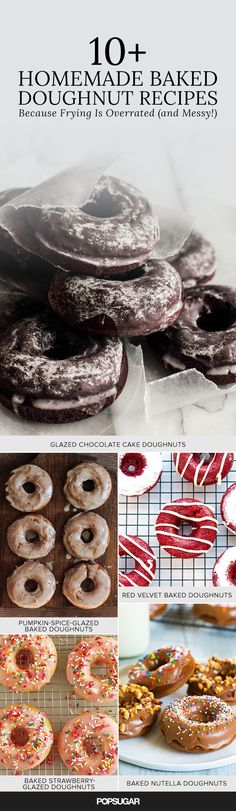 10+ Homemade Baked Doughnut Recipes (Because Frying is Overrated and Messy!) —ranging from red velvet to rhubarb poppyseed, these easy recipes satisfy #desertsfoodrecipes