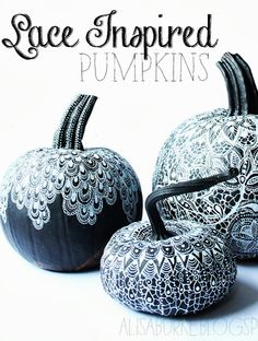 Here's an entry from @Stephanie Ragan showcasing lace covered pumpkins. Do you find these strangely elegant yet spooky? #NoTricksAllTreats frenchtoast.com