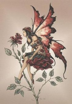 Draw Rose Amy Brown Red Rose Fairy Postcard - That Bohemian Girl - Fairy Postcard by Amy Brown Measures x 6 inches. Postcards are printed on thick card stock. Elves Fantasy, Fantasy Art, Amy Brown Fairies, Dark Fairies, Gothic Fairy Tattoo, Pixie Tattoo, Fantasy Tattoos, Fairy Drawings, Fairy Tattoo Designs