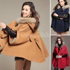 Princess Style Unique Poncho Button Fashion Women Hood Winter Coat Outerwear Loose Cape