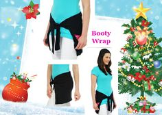 **Christmas Gift Idea #18 - Booty Wrap. If u are planning a trip to the gym or just a nice leisurely walk, jog or cycle, then the Booty Wrap is a must have garment! Often our gym & exercise clothes have no pockets so we have no-where to keep our keys, our mobile phones, cash, lip balm etc. Now you can pop on the Booty Wrap which is simply a flat bulkless garment with sleeves and zipped secure pockets. Made of stretchy material, once tied around your waste it covers your bum & tummy.