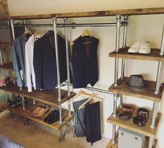 Bespoke industrial style wardrobe system Industrial Shelving Units, Open Shelving Units, Industrial Style, Open Wardrobe, Wardrobe Rack, Wardrobe Systems, Gas Pipe, Hanging Rail, Wardrobes
