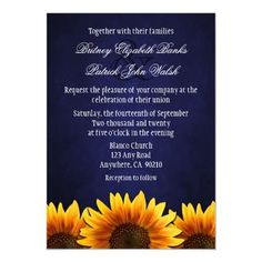 Chalkboard Blue Sunflower Wedding Invitations