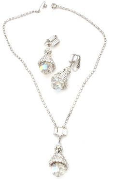 Vintage Crystal Clear Rhinestone Set Necklace Earrings Prong Set 2 Piece #Unbranded