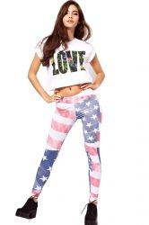 #Plus #Size White American Flag Print Leggings.#2014 #women #fashion #Sexy | #cute #leggings outfit fall | winter | spring style,leggings with boots.Black leggings. pinkqueen.com