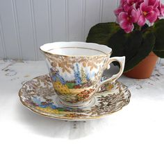 Crinoline Lady Art Deco Cup and Saucer Colclough Gold Chintz English Garden 1940s