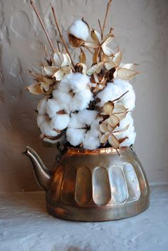 Image result for cotton boll bouquet in  teapot