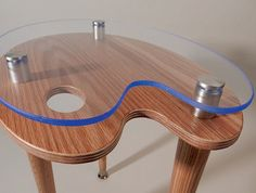 Red Oak Appleply top and ACRYLITE® blue exotic edge acrylic top make an exciting and functional design statement that supports your beverage while it protects your viewable electronics belowArtist Palette tablette  Modern Media Accent by tablettebyAcey, $179.00